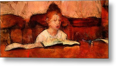 Religious Boy Learning With Book Old World Study Education Library  Metal Print by MendyZ