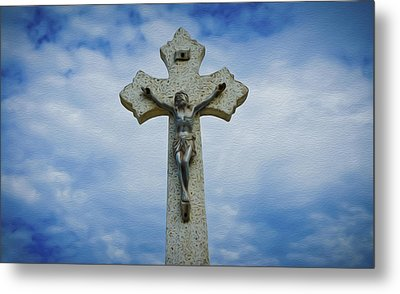 Religious Cross Metal Print by Aged Pixel