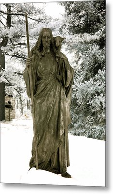 Religious Jesus Statue Holding Lamb Winter Scene Metal Print by Kathy Fornal