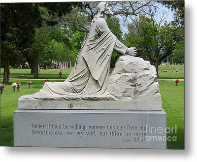 Religious Statue And Verse Metal Print by Kay Novy
