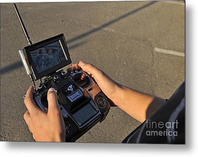 Remote Control And Video Monitor Metal Print by Sami Sarkis