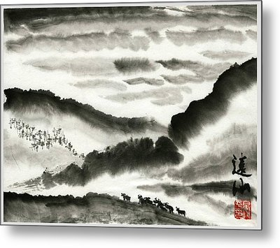 Metal Print featuring the painting Remote Mountains by Ping Yan