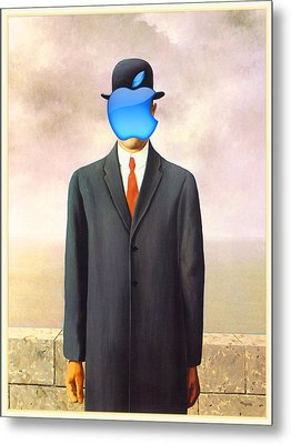 Rene Magritte Son Of Man Apple Computer Logo Metal Print