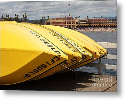 Rental Boats On The Municipal Wharf At Santa Cruz Beach Boardwalk California 5d23795 Metal Print by Wingsdomain Art and Photography