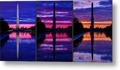 Repairing The Monument Triptych Metal Print by Metro DC Photography