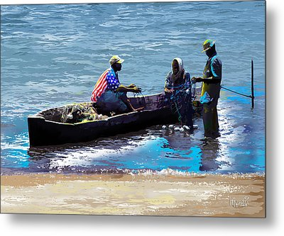 Metal Print featuring the painting Repairing The Net At Lake Victoria by Anthony Mwangi