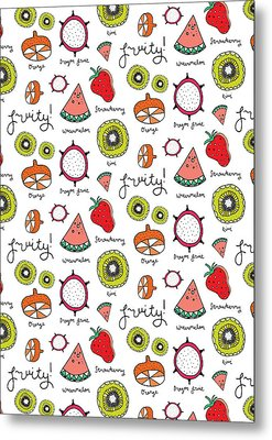 Repeat Print - Fruits Metal Print by Susan Claire