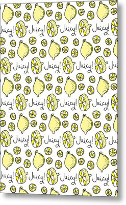Repeat Prtin - Juicy Lemon Metal Print by Susan Claire