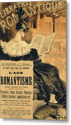 Reproduction Of A Poster Advertising A Book Entitled The Romantic Age Metal Print by Eugene Grasset