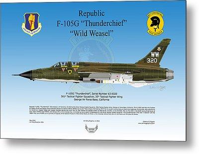 Republic F-105g Thunderchief Metal Print by Arthur Eggers