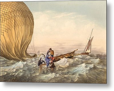 Rescue At Sea Of Downed Balloonists Metal Print by Unknown