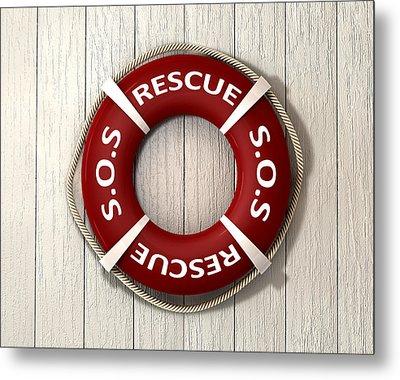 Rescue Lifebuoy Metal Print by Allan Swart