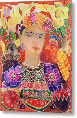Respects To Frida Kahlo, 2002 Coloured Ink On Silk Metal Print by Hilary Simon