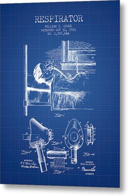 Respirator Patent From 1911 - Blueprint Metal Print by Aged Pixel