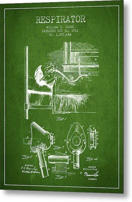 Respirator Patent From 1911 - Green Metal Print by Aged Pixel