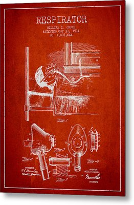 Respirator Patent From 1911 - Red Metal Print by Aged Pixel