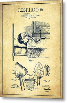 Respirator Patent From 1911 - Vintage Metal Print by Aged Pixel