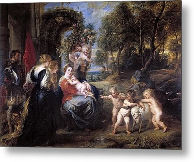 Rest On The Flight Into Egypt With Saints Metal Print by Peter Paul Rubens