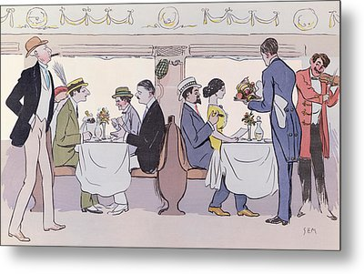 Restaurant Car In The Paris To Nice Train Metal Print by Sem
