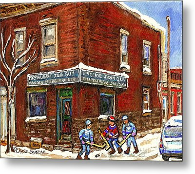 Restaurant Epicerie Jean Guy Pointe St. Charles Montreal Art Verdun Winter Scenes Hockey Paintings   Metal Print by Carole Spandau