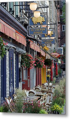 Restaurant Le Cochon Dingue In The Old Port Of Quebec City Metal Print by Juergen Roth