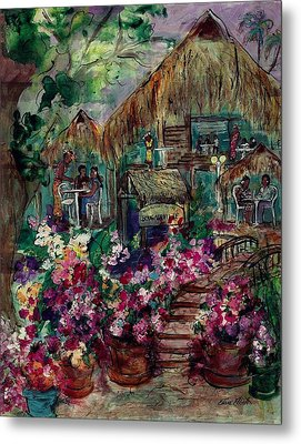 Restaurante Bougainville Metal Print by Elaine Elliott