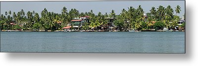 Restaurants Along The Bentota River Metal Print by Panoramic Images