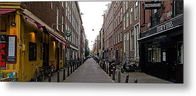 Restaurants In A Street, Amsterdam Metal Print by Panoramic Images
