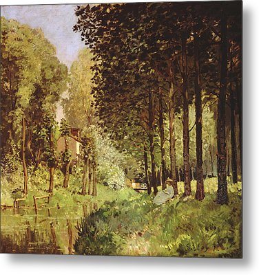 Resting By The Brook, 1878 Oil On Canvas Metal Print by Alfred Sisley