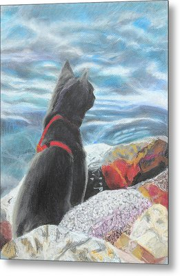 Metal Print featuring the painting Resting By The Shore by Jeanne Fischer