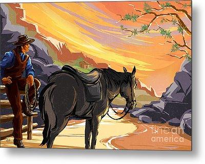 Resting Cowboy Metal Print by Bedros Awak