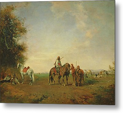 Resting Place Of The Arab Horsemen On The Plain, 1870 Metal Print