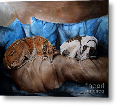 Metal Print featuring the painting Resting Time by Dorota Kudyba