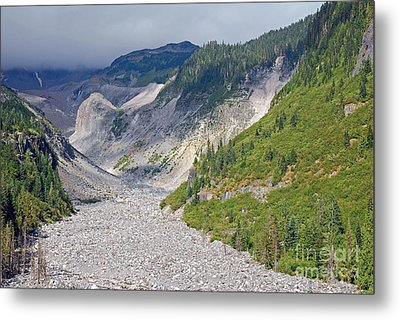 Restless Glaciers At Mount Rainier National Park Metal Print by Connie Fox