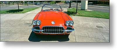 Restored Red 1959 Corvette, Front View Metal Print by Panoramic Images