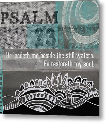 Restoreth My Soul- Contemporary Christian Art Metal Print by Linda Woods