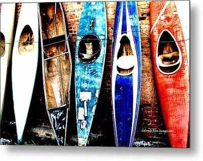 retired Kayaks Metal Print by Rebecca Adams