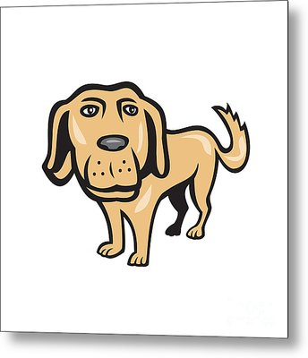 Retriever Dog Big Head Isolated Cartoon Metal Print by Aloysius Patrimonio