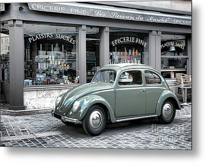 Retro Beetle Metal Print by Olivier Le Queinec
