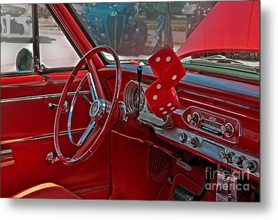 Metal Print featuring the photograph Retro Chevy Car Interior Art Prints by Valerie Garner
