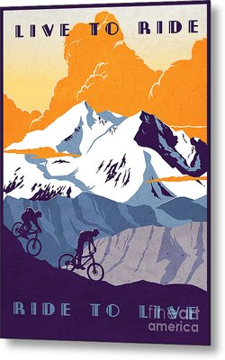 retro cycling poster Live to Ride Ride to Live  Metal Print