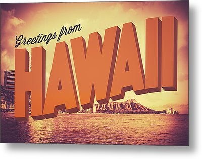 Retro Greetings From Hawaii Postcard Metal Print by Mr Doomits