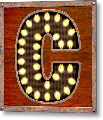 Retro Marquee Lighted Letter C Metal Print by Mark Tisdale