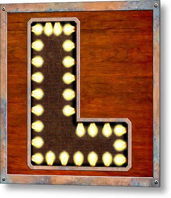 Retro Marquee Lighted Letter L Metal Print by Mark E Tisdale