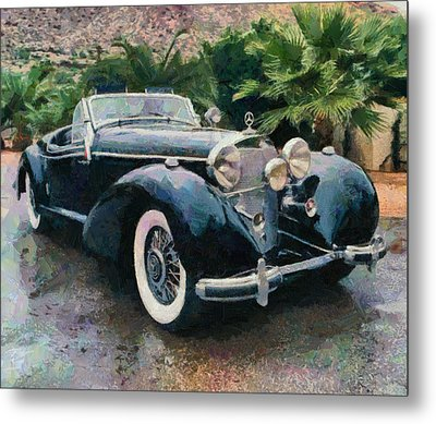 Retro Mercedes Metal Print by Georgi Dimitrov