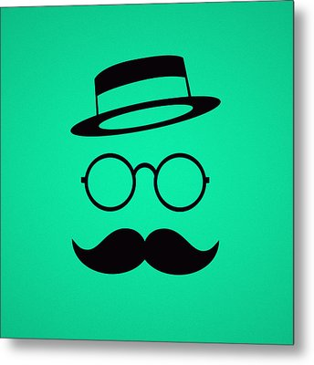 Retro Minimal Vintage Face With Moustache And Glasses Metal Print by Philipp Rietz