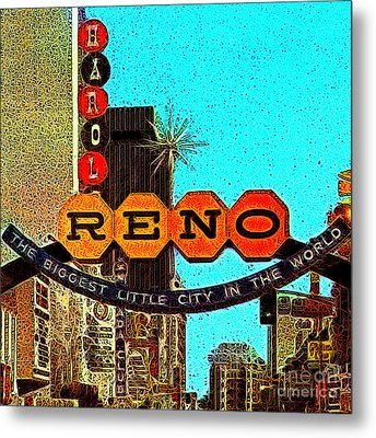 Retro Reno Nevada The Biggest Little City In The World 20130505v1 Metal Print by Wingsdomain Art and Photography