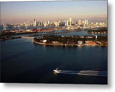 Metal Print featuring the photograph Retro Style Miami Skyline Sunrise And Biscayne Bay by Gary Dean Mercer Clark