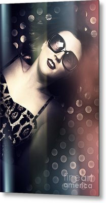 Retro Summer Pin-up Girl With Short Hairstyle Metal Print