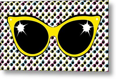 Retro Yellow Cat Sunglasses Metal Print by MM Anderson